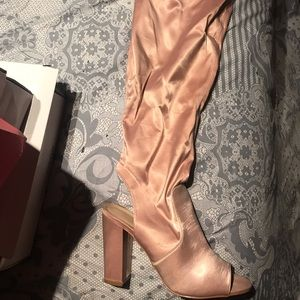 Shoes - Pink over the knee boots